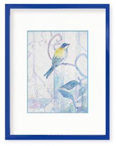 yuriさん「シジュウカラ」(B5)青い額縁に鳥がとまってほしかったので
