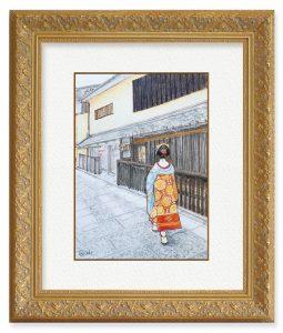 akiさん「舞妓さん」(F4)何度も訪れた京都の街並みと舞妓さんの絵をいつか描いてみたいと思っておりました。ゆっくり描いておりました。