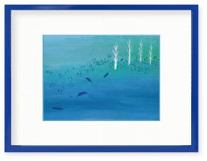 yukikoさん「青い森」(B5)友人の作った神秘的なプリザーブドフラワーアレンジメントから、インスピレーションを得て描きました。