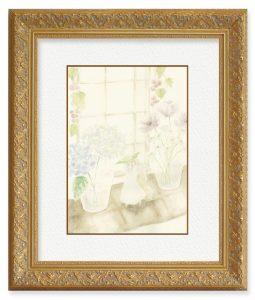 ささみチーズさん「朝の窓際」(F4)梅雨の季節に入り込む、「爽やかな日の朝」と「窓際の小さな生活」を表現したいと思い描きました。